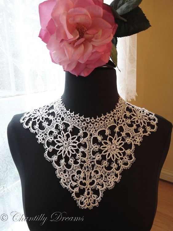 Sexy Antique Tatted Lace Bib Collar