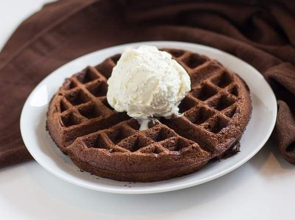 Make a decadent waffle out of brownie mix