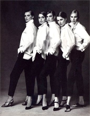 Photo by Patrick Demarchelier 1991 - Shirts and Trousers Alberto Biani Vogue Italia, February 1991