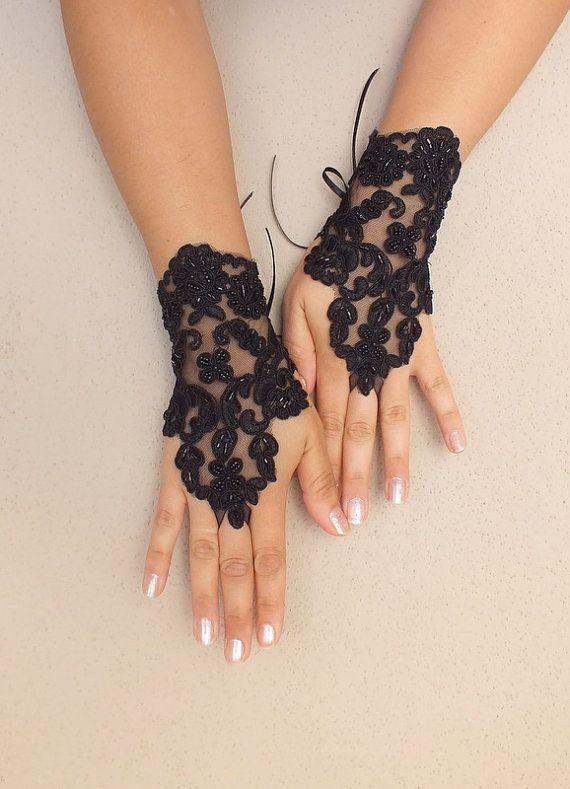 Gothic Black Wedding gloves bellydance french lace by WEDDINGHome, $30.00