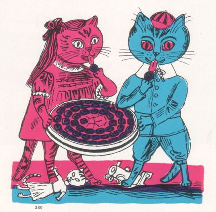 """""""Candy Cats"""" by Edward Bawden from """"Fortnum & Mason Christmas CATalogue, 1958"""