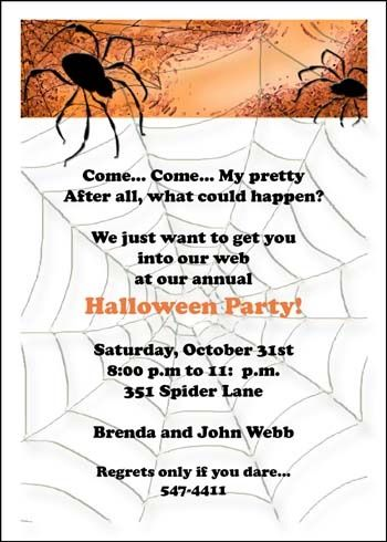 spider web party invites for scary halloween celebrations - Where Does The Halloween Celebration Come From