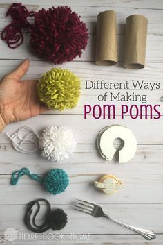 Making pom poms out of yarn, you can use toilet paper rolls or a fork, or chair legs or even a cardboard cutout. The possibilities are endless!