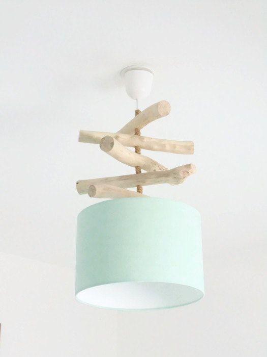 Lustre bois flotté Vert pastel scandinave - abat jour cylindre 28 cm - suspension cylindrique - plafonnier rond