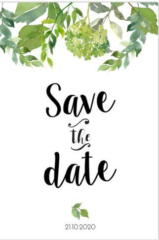 Romantische enkele save the date kaart met Eucalyptus bladgroen en mooie sierletters. Geheel zelf aan te passen. Gratis verzending in Nederland en België. Enveloppen zijn los bij te bestellen
