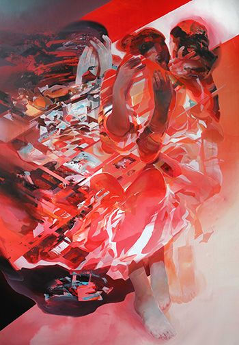 Robert Proch - Red Dress, 199x130 cm, acrylic on canvas, 2016