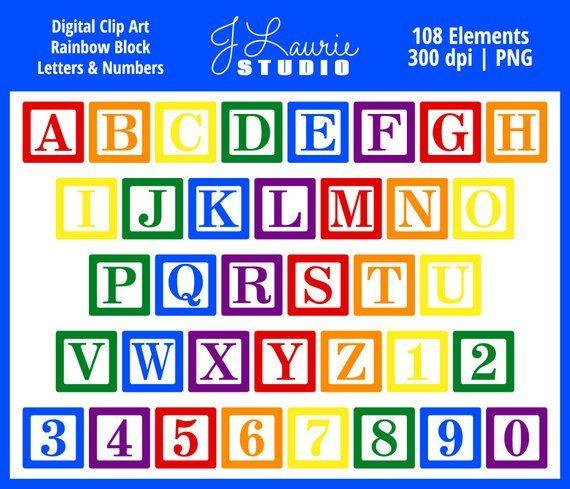 Digital Alphabet Letters Clipart-Rainbow Block Letters-Baby
