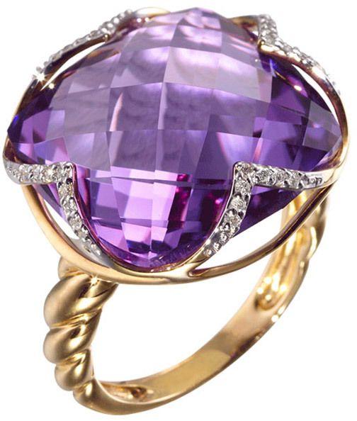 "Plukka ""Elle"" 18K Gold Amethyst Diamond Ring"