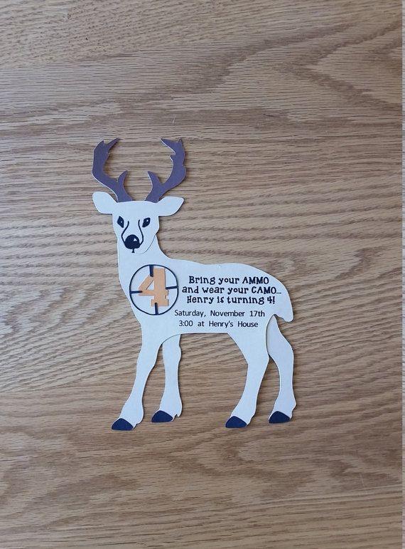 Deer Hunting Birthday Invitation  Handmade by WiseWomanInvites