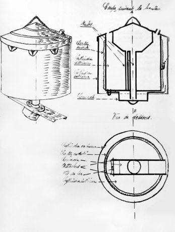 Dessin détaillant la fabrication d'un engin explosif utilisé par les résistants pour saboter les voies ferrées. 1942