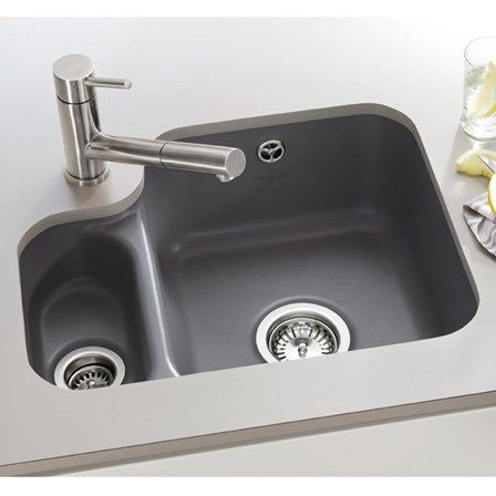 Villeroy Boch Cisterna 60b White Ceramic 1 5 Bowl Undermount Sink With Left Hand Small Bowl 545 X 440mm