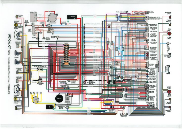OPEL GT 1973 DIAGRAM ELECTRICAL | technical drawing Opel