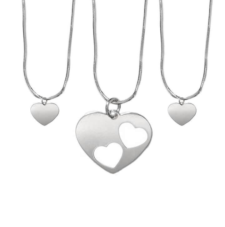 Naszyjnik dla mamy i dwóch córekwycięte serca