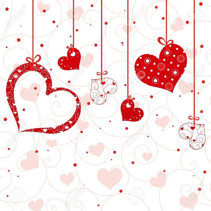 Valentin Grußkarten, Valentinstagsgrüße, Weiße Tapete, Tapeten Kunst,  Hintergrundbilder, Vektorformen, Saint Valentine, Geometrische Formen, Rote  Herzen