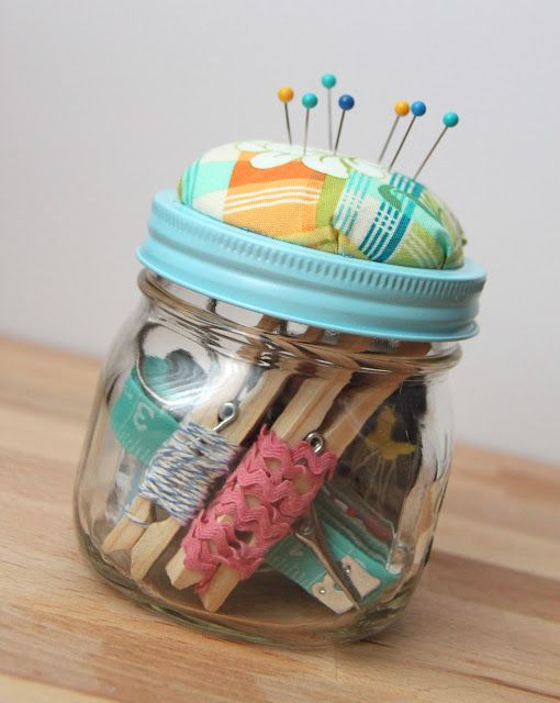 DIY Beginner Sewing Kit - TUTORIAL is for making the pin cushion on top of jar, + what is included in the jar (not hard, could be EZ hour or so project for super beginner since you could just glue gun the pin cushion to jar top)