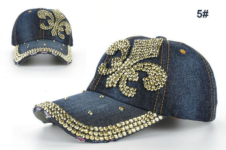 Sale Fashion Rhinestone Fluer De Lis Darkblue Denim Baseball Peaked Cap Hat