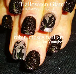 Nail-art by Robin Moses: Glam Halloween nails, Halloween nail art, frankenpolish, how to frankenpolish, franken polish, silver and black nai...