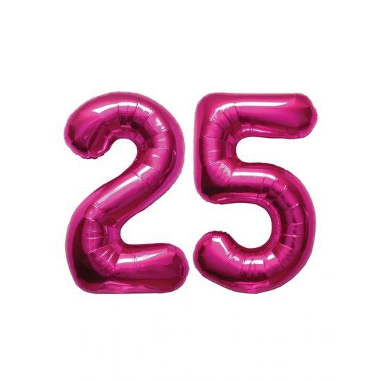 Verjaardag ballonnen 25 jaar roze  25 jaar folie ballonnen roze. Dit product bestaat uit twee cijfer ballonnen die tezamen het cijfer 25 vormen. Formaat van beide roze ballonnen: ongeveer 86 cm. Let op u kunt de ballonen heel gemakkelijk met een ballonpomp opblazen. U kunt de ballonen ook zelf vullen met helium welke bij ons in tankjes verkrijgbaar zijn. De ballon wordt dus zonder helium geleverd. Met een helium tank van 30 ballonnen kunt u circa 4 cijfer ballonnen vullen en met een helium…