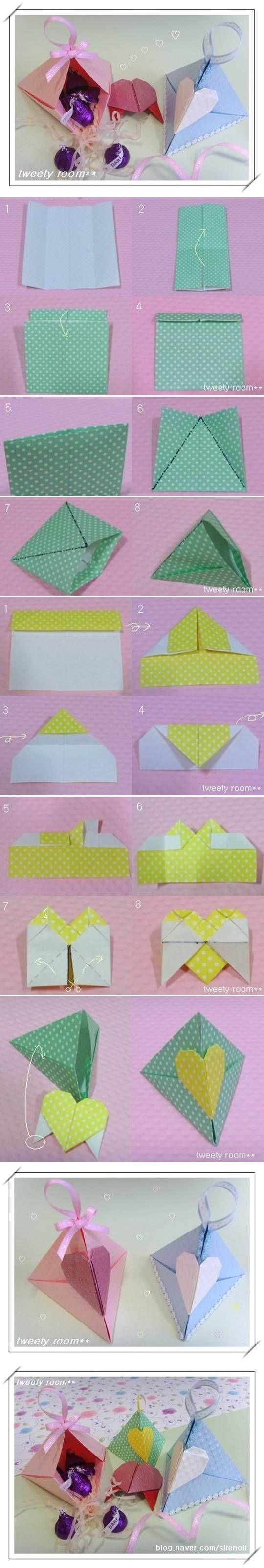 DIY Triangle Heart Lock Gift Box