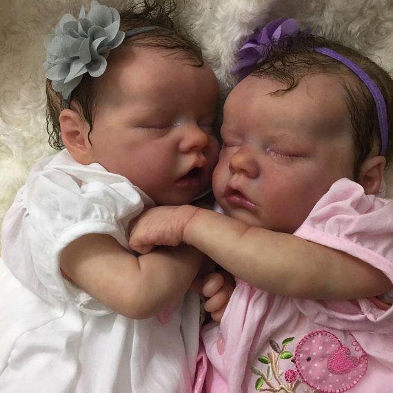 Twin A and B Bonnie Brown reborn premmie by Tinytoesreborns