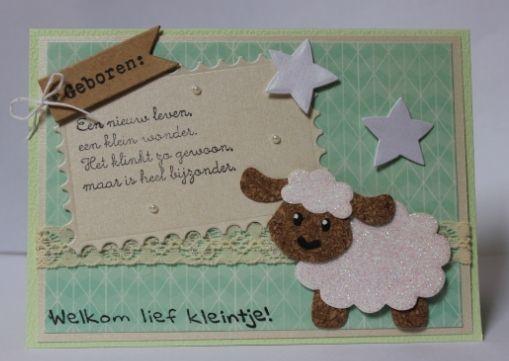Gemaakt door Joke # Babykaart met schaapje #3