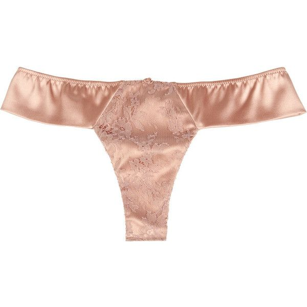 Carine Gilson Thème Céres silk-satin thong ($110) ❤ liked on Polyvore featuring intimates, panties, lingerie, underwear, women, underwear lingerie, silk satin panties, underwear thong, panty thong and lingerie panty