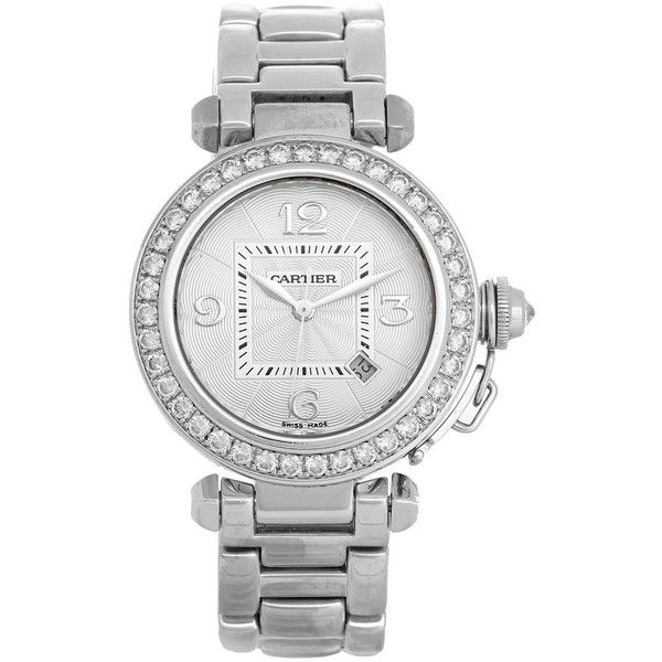 Pre-Owned Cartier 18K White Gold Pasha Automatic Ladies Watch ($15,800) ❤ liked on Polyvore featuring jewelry, watches, white gold, diamond bezel watches, white gold jewellery, cartier wrist watch, cartier watches and cartier jewelry