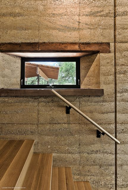 Rammed Earth Ranch - stair detail, via Flickr by Ethan Stead Photography