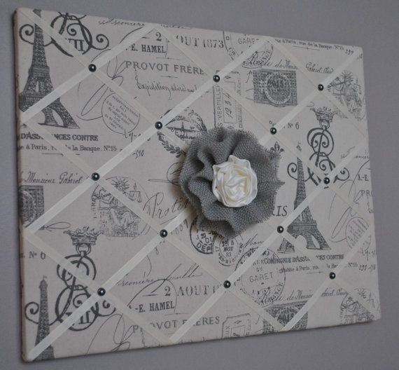 Paris themed French memo board / fabric wall art by MemoBoardsNMore