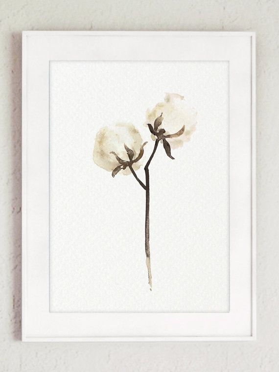 Cotton Painting Shabby Chic Decor White Brown by ColorWatercolor