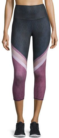"Alo Yoga signature-fit ""Airbrush"" leggings in multicolor lace print on ShopStyle"