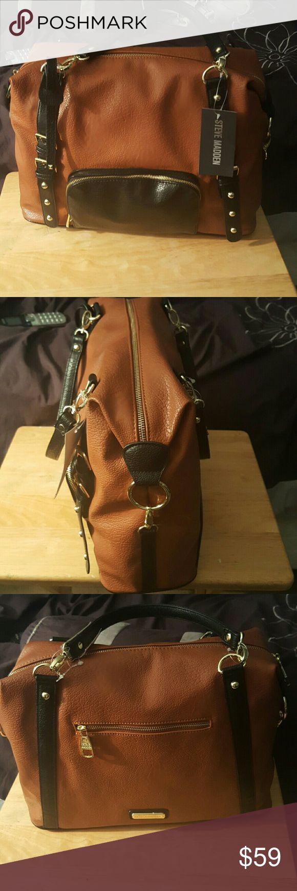 Steve Madden Handbag 20% off thru July 4th New Steve Madden cognac  and black Steve Madden   Bags Shoulder Bags