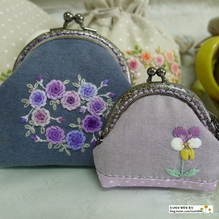 딱 한개 남긴 꼬맹이 프레임지갑 만들었어요 '삼색제비꽃' '팬지' 꽃자수 꽃말은 '나를 생각해 주세요' '사...