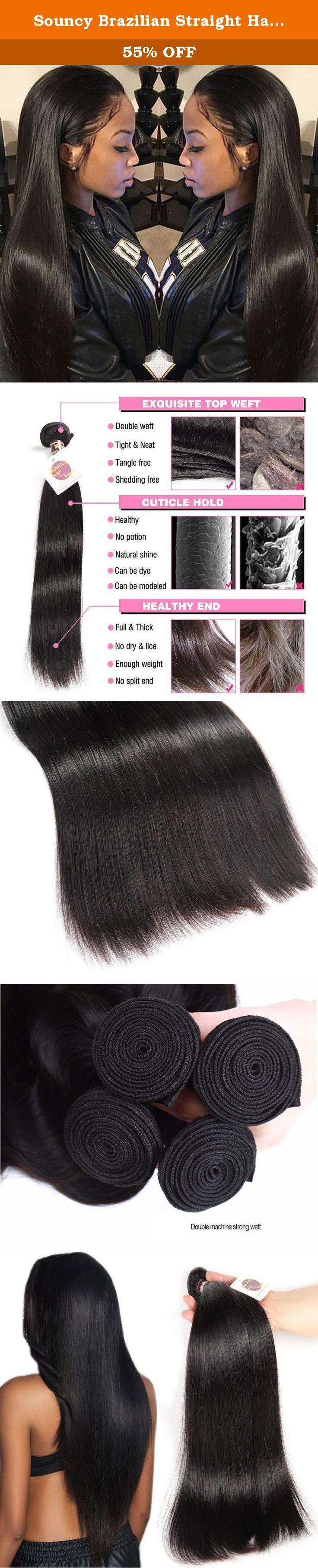 Souncy Brazilian Straight Hair 7A Unprocessed Virgin Brazilian Hair 3 Bundles, 100% Remy Human Hair Weave Extensions Natural Black Color (16 18 20inches). Brand Name: Souncy Hair Hair Material: 100% Unprocessed Virgin Hair, Brazilian Human Hair Material Grade: 7A Grade Brazilian virgin human hair Hair Color: Natural Black Hair Color Hair Style: Brazilian Silky Straight Items per Package:Brazilian Hair 3 Bundles Hair Length: 8, 10, 12, 14, 16, 18, 20, 22, 24, 26 inches,Any Mix Length...