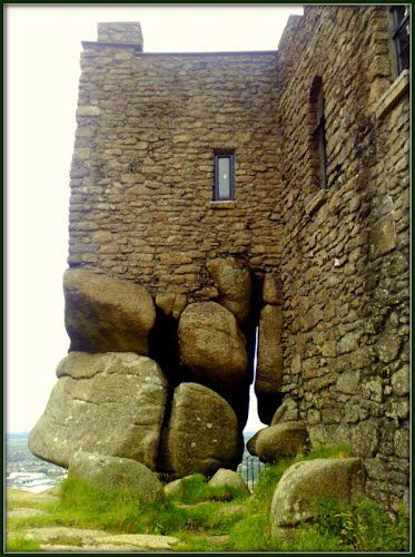 Close-up of the rock foundation of Carn Brae Castle, Redruth, Cornwall, England;  originally built in 1379