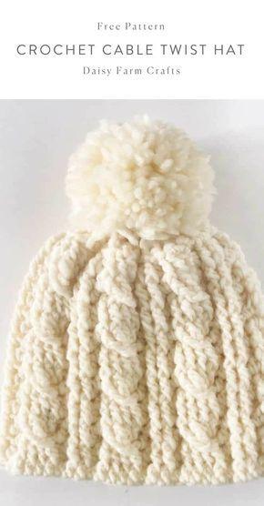 Padrão livre - chapéu de torção de cabo de crochê