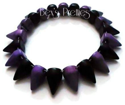 Dyed Howlite-black-purple Conical Spike Spiked by BexsPretties
