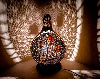 Wedding anniversary, birthday, graduation, EID, Christmas Gourd lamp handcrafted Turkish shadow light table lamp gothic mid century bohemian