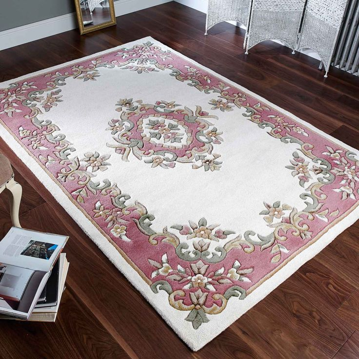 Royal Aubusson Rugs In Cream And Pink Are Hand Made With A Sculptured Traditional Indian Design