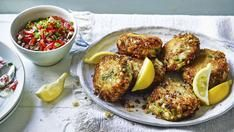 Crab and cod fishcakes with tomato salsa