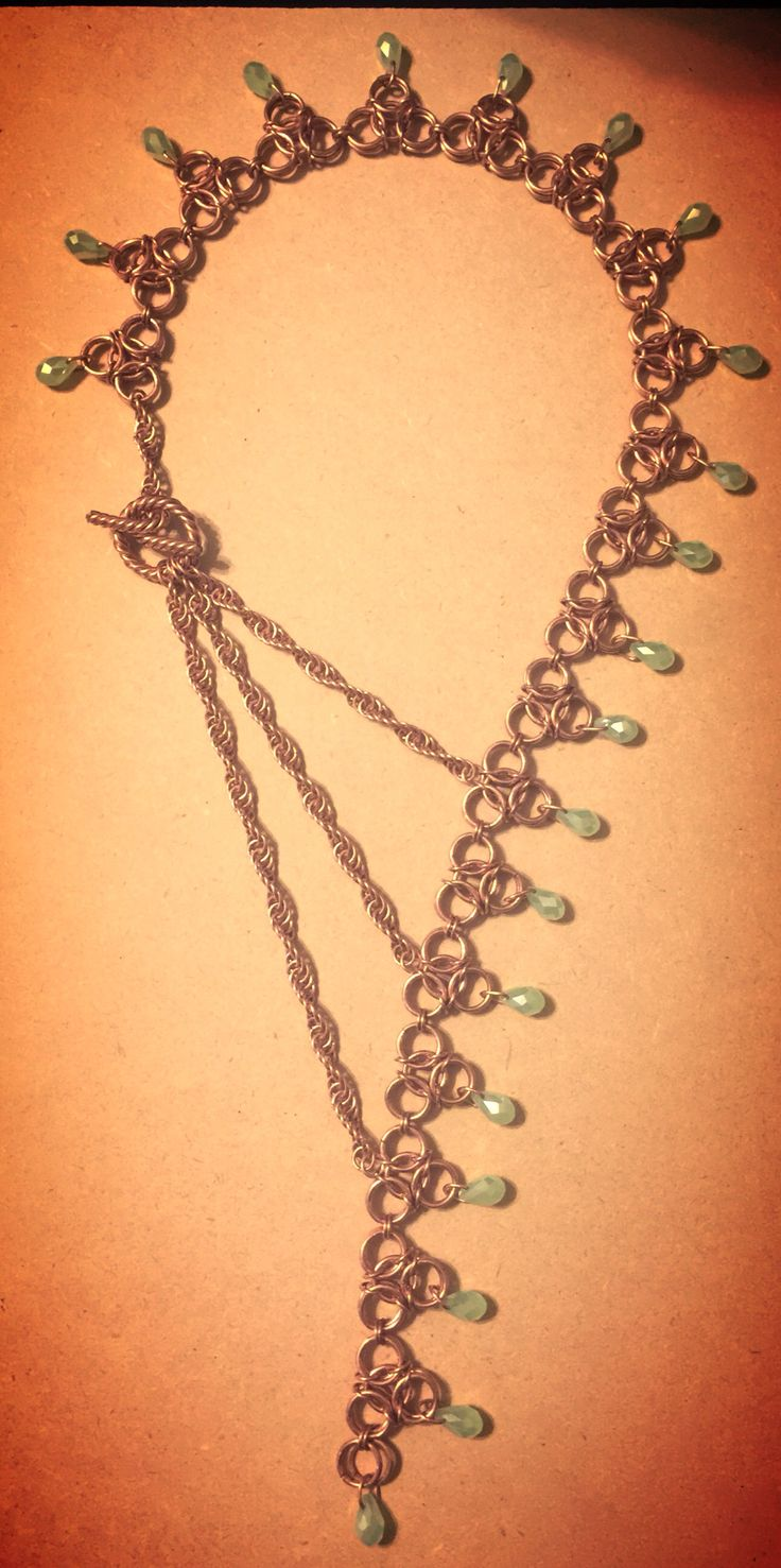 """Custom Chain mail Necklace in Copper. 14&12 gauge wire @1/4""""id & 3/8""""id"""