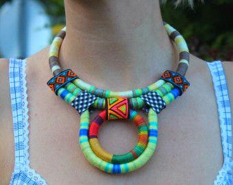 Declaración collar babero cuerda collar Boho étnico collar collar africano collar Tribal único bisuterías para ella