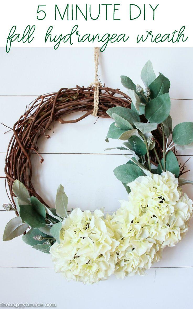 Five Minute Hydrangea Fall Wreath - The Happy Housie
