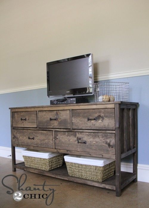 DIY dresser/tv stand - love this, a bit too rustic for my style, but with a darker wood stain it would work fabulously!!