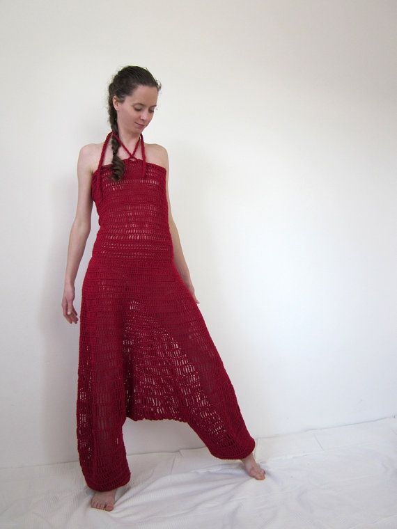 Crochet harem pants overall in deep red by AmeBa77 on Etsy