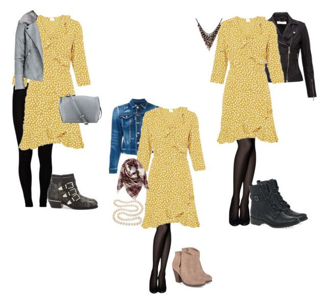 """""""Yellow tea dress worn 3 ways"""" by amooshadow on Polyvore featuring Alexa Starr, Majestic, Chloé, Nine West, Dsquared2, Journee Collection, BP. and DaVonna"""