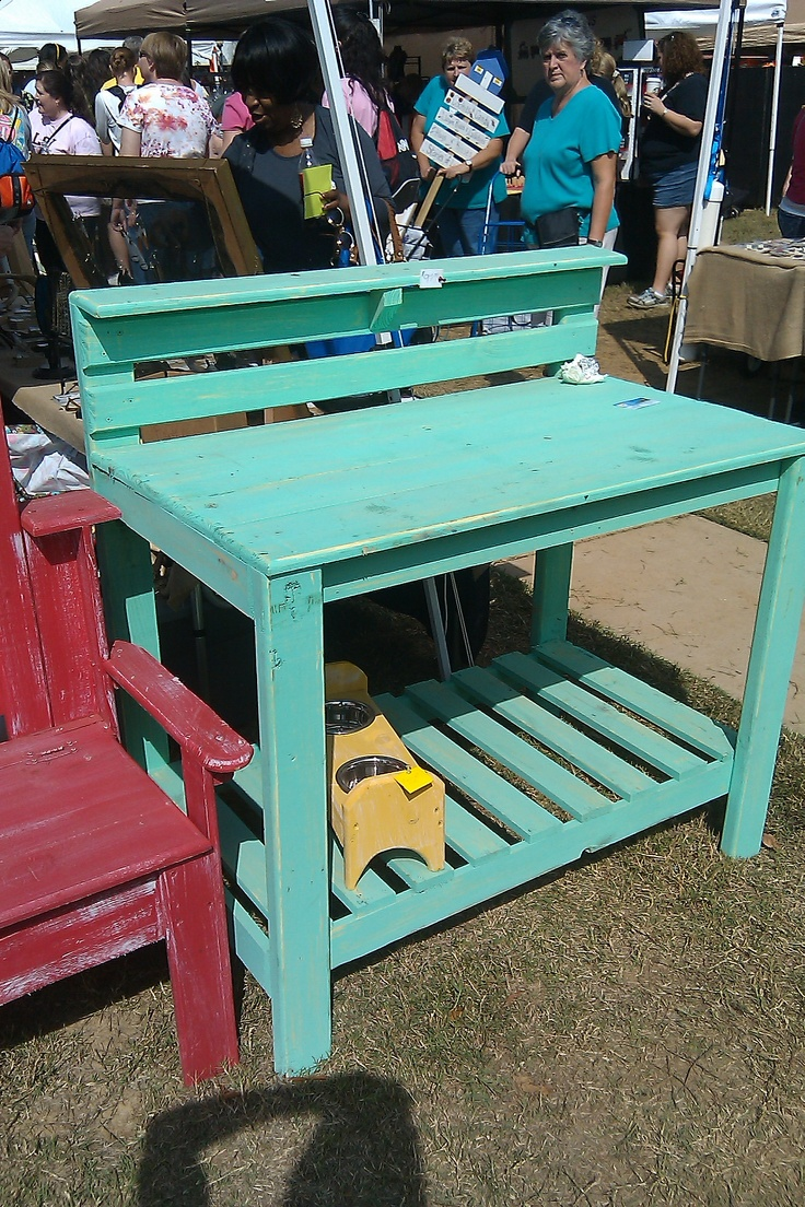 garden table- grandpa is going to make one of these for grandkids