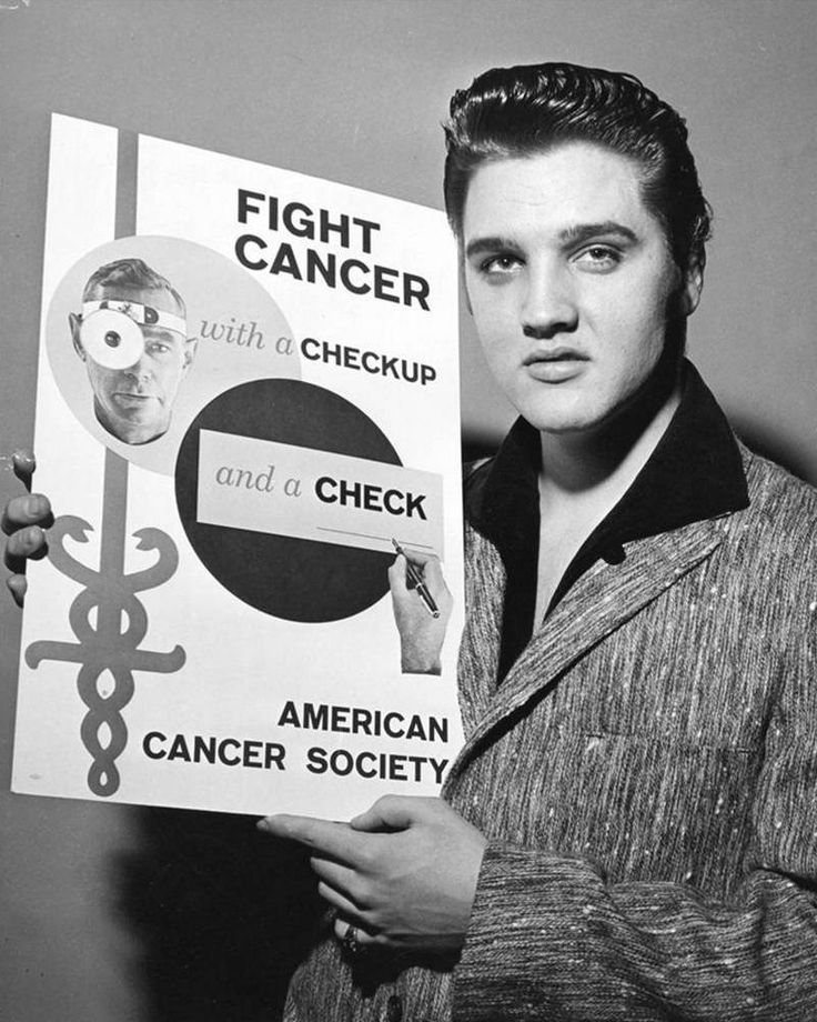 "1957-01-06 American Cancer Society January 6, 1957 NEW YORK CITY Same day, only moments later, Elvis posed for the AMERICAN CANCER SOCIETY. ""FIGHT CANCER with a checkup and a check"""