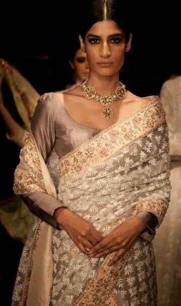 Manish Malhotra lace saree - love the muted colours.