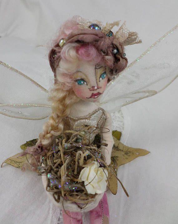 OOAK Fairy Art Doll  Miss Ophelia Paisley Woodrose  Fairy